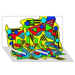 Colorful chaos Twin Heart Bottom 3D Greeting Card (8x4)