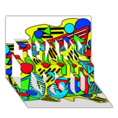 Colorful chaos THANK YOU 3D Greeting Card (7x5)