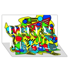 Colorful chaos Merry Xmas 3D Greeting Card (8x4)