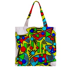 Colorful chaos Zipper Grocery Tote Bag