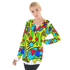 Colorful Chaos Women s Tie Up Tee
