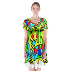 Colorful chaos Short Sleeve V-neck Flare Dress