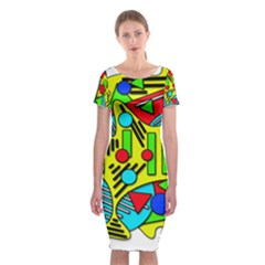 Colorful chaos Classic Short Sleeve Midi Dress