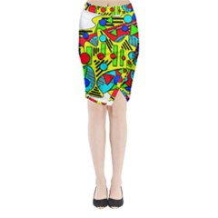 Colorful Chaos Midi Wrap Pencil Skirt