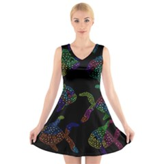 Decorative fish V-Neck Sleeveless Skater Dress