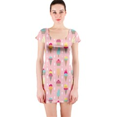 Ice Cream and Cupcake Sweet Tooth Pattern Short Sleeve Bodycon Dress