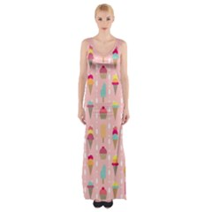 Ice Cream and Cupcake Sweet Tooth Pattern Maxi Thigh Split Dress