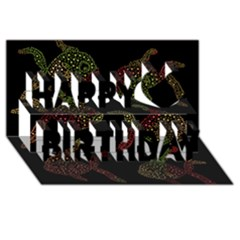 Decorative fish pattern Happy Birthday 3D Greeting Card (8x4)