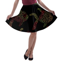Decorative fish pattern A-line Skater Skirt