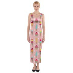 Ice Cream and Cupcake Sweet Tooth Pattern Fitted Maxi Dress