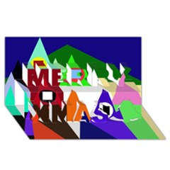 Colorful houses  Merry Xmas 3D Greeting Card (8x4)