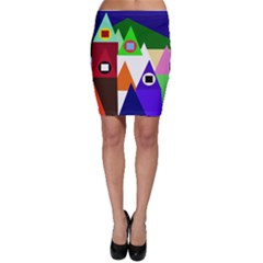 Colorful Houses  Bodycon Skirt