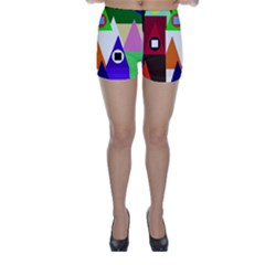 Colorful houses  Skinny Shorts