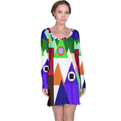 Colorful houses  Long Sleeve Nightdress