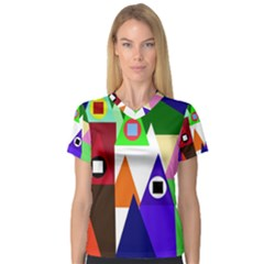 Colorful houses  Women s V-Neck Sport Mesh Tee