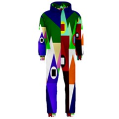 Colorful houses  Hooded Jumpsuit (Men)