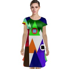 Colorful houses  Cap Sleeve Nightdress