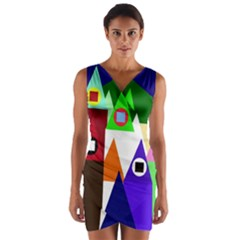 Colorful houses  Wrap Front Bodycon Dress