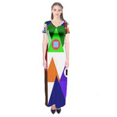 Colorful houses  Short Sleeve Maxi Dress