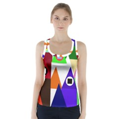Colorful Houses  Racer Back Sports Top