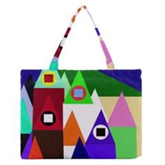 Colorful houses  Medium Zipper Tote Bag