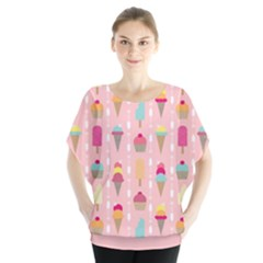 Ice Cream And Cupcake Sweet Tooth Pattern Batwing Chiffon Blouse