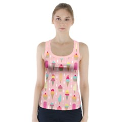 Ice Cream And Cupcake Sweet Tooth Pattern Racer Back Sports Top