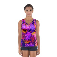 Purple Painted Floral and Succulents Women s Sport Tank Top
