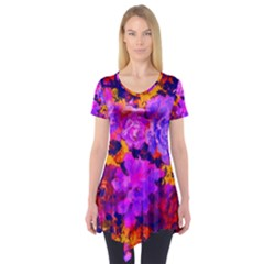 Purple Painted Floral and Succulents Short Sleeve Tunic