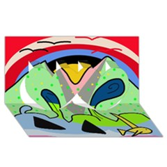 Colorful landscape Twin Hearts 3D Greeting Card (8x4)