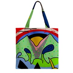 Colorful landscape Zipper Grocery Tote Bag