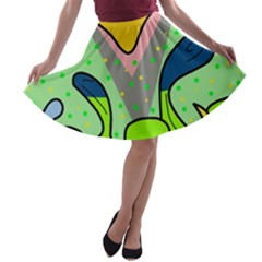 Colorful landscape A-line Skater Skirt