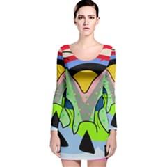 Colorful landscape Long Sleeve Velvet Bodycon Dress