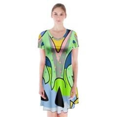 Colorful landscape Short Sleeve V-neck Flare Dress