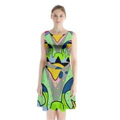 Colorful Landscape Sleeveless Chiffon Waist Tie Dress