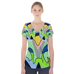 Colorful landscape Short Sleeve Front Detail Top