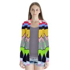 Colorful Landscape Drape Collar Cardigan