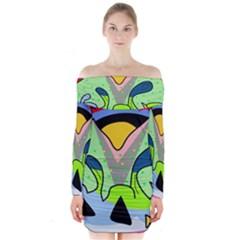 Colorful landscape Long Sleeve Off Shoulder Dress