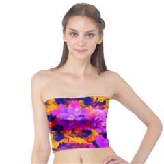 Purple Painted Floral And Succulents Tube Top