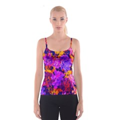 Purple Painted Floral And Succulents Spaghetti Strap Top