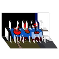Table Laugh Live Love 3D Greeting Card (8x4)