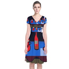 Table Short Sleeve Front Wrap Dress