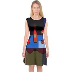 Table Capsleeve Midi Dress