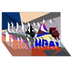 Geometrical abstract design Happy Birthday 3D Greeting Card (8x4)