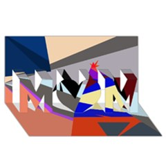Geometrical abstract design MOM 3D Greeting Card (8x4)