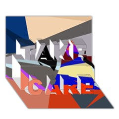 Geometrical abstract design TAKE CARE 3D Greeting Card (7x5)