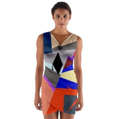 Geometrical abstract design Wrap Front Bodycon Dress