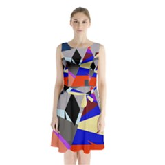 Geometrical Abstract Design Sleeveless Chiffon Waist Tie Dress