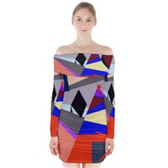 Geometrical Abstract Design Long Sleeve Off Shoulder Dress