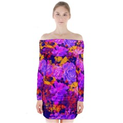 Purple Painted Floral and Succulents Long Sleeve Off Shoulder Dress